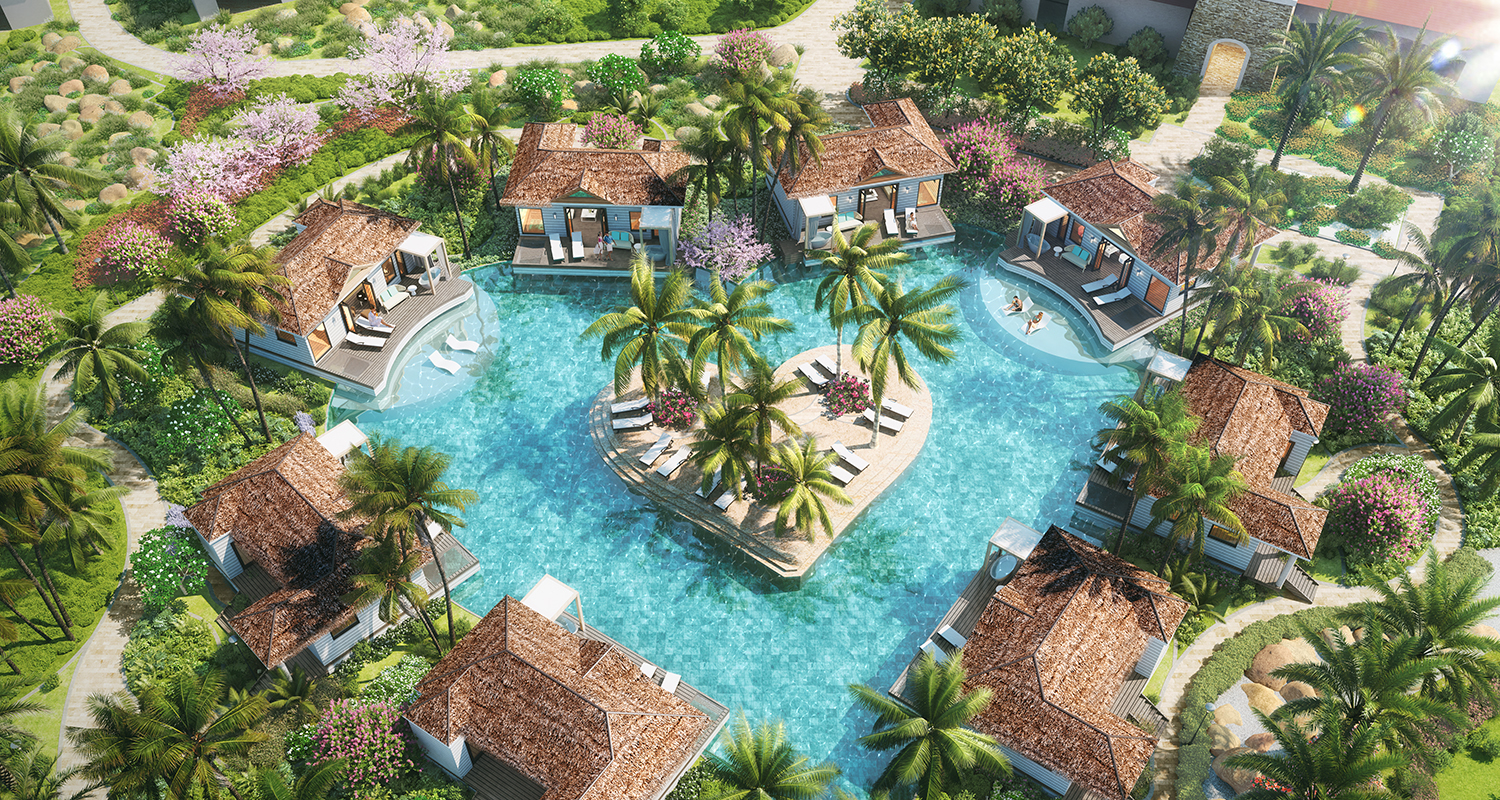 Kurason Island Poolside Butler Bungalows with Patio Tranquility Soaking Tubs